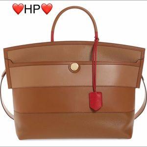 BURBERRY Society Stripe Top Handle Bag